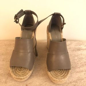 Treasure and Bond Gray Leather Wedges